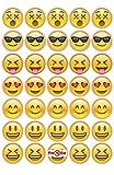 35 x Pre Cut Emoji-Kuchen, Cupcake Topper/Dekoration Essbar Wafer Papier