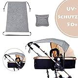 Universal Sonnensegel für Kinderwagen Sonnenschutz mit UV Schutz Beschichtung 50+ für Kinderwagen und Babywanne - Grau