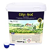 Nortembio Zitronensäure 5 Kg. Wasserfreies Citronensäure Pulver, 100% Reine. Für Ökologischen Produktion. E-Book Inklusiv.