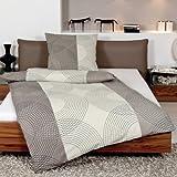 Janine Design Seersucker Bettwäsche Tango 2411-07 Taupe 1 Bettbezug 135x200 cm + 1 Kissenbezug 80x80 cm