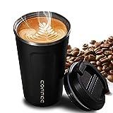 Faminess Kaffeebecher für unterwegs Coffee to go Thermobecher schwarz 500 ml aus Edelstahl mit Doppelwand Isolierung 100% auslaufsicher Thermo für Kaffee oder Tee