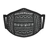 Schwarz Weiß Tribal Ethnic Geometric Logo Farbdruck Gesichtsmaske für Kinder und Kleinkinder aus waschbarem wiederverwendbarem Stoff aus 100% Baumwolle, verstellbare Ohrriemen