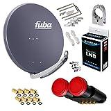 FUBA 4 Teilnehmer 2 SAT Digital SAT Anlage DAA850A + Megasat Diavolo Monoblock Quad LNB Astra Hotbird 0,1dB Full HDTV 4K + 8 Vergoldete F-Stecker Gratis dazu