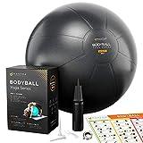Gymnastikball | Pilates Ball | Sitzball Büro - 45cm / 55cm / 65cm Geburtsball für Schwangerschaft, Balance, Yoga & Fitness. Extra Dick, Rutschfest, Berstsicher Pezziball mit Luftpumpe & Anleitung