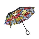 ALINLO Regenschirm, umgekehrt, amerikanisches leckeres Fettfutter-Muster, doppelschichtiger Rückwärtsschirm wasserdicht für Auto Regen Outdoor mit C-förmigem Griff