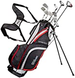 Wilson Anfänger-Komplettsatz, 10 Golfschläger mit Carrybag, Herren, Linkshand, Stretch XL, schwarz/grau/rot, WGG157553
