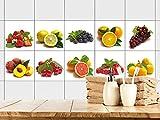 GRAZDesign Fliesenaufkleber Küche Fliesensticker Beeren und Früchte - Fliesentattoo Set Küchenmotive auf weiß Küchenfliesen - Klebefolie / 10x10cm / 10 Stück