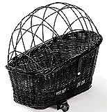 Tigana - Hundefahrradkorb für Gepäckträger aus Weide 60 x 39 cm mit Metallgitter Kissen Holzstück Tierkorb Hundekorb für Fahrrad - SCHWARZ (SB-S-H)