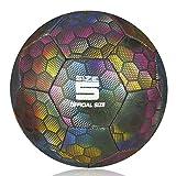 YANYODO Fußball Trainingsfußball für Kind/Erwachsener,Holographic Glowing Reflektierender Fußball, Camera Flash Glows Fußball Outdoor/Indoor-Spiel Ball Größe 5
