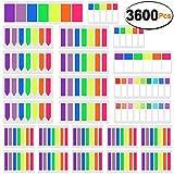SIQUK 3600 Stück Haftstreifen Seitenmarker Farbige Sticky Tabs Seite Marker Flag Tupfen und Streifen Hinweis Tabs Fluoreszierende Index Flags Tab, 24 Sets