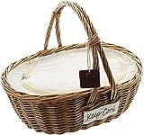 Dekoleidenschaft Einkaufskorb aus Weide mit Thermo-Funktion, Kühltasche, Weidenkorb, Picknickkorb, Isoliertasche