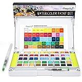 Magicfly Aquarellfarben Wasserfarben Set, 48 lebendige Farben, Aquarell Farbe Kasten Malkasten, mit 2 Schwämme, 2 Wassertankpinsel für Anfänger Profis