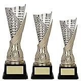 RaRu 3er-Serie extravagante Sport-Pokale mit Wunschgravur und Sport-Emblem (Flamme silbergold) (Fußball)