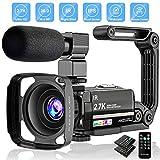 Videokamera 2.7K Camcorder UHD 36MP Vlogging Kamera für YouTube IR Nachtsicht 3.0' LCD Touchscreen 16X Digital Zoom Kamera Recorder mit Mikrofon Handstabilisator Fernbedienung, 2 Batterien