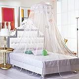 Wsreyj Moskitoschutzsummer Hung Dome Moskitonetze Für Schlafzimmer Polyester Mesh Stoff Massivbett Baldachin Rundbett Vorhänge-A