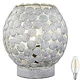 Tischleuchte E14 m. Schnurschalter Retro Beistelltisch Tischlampe Nachttischlampe Lampe Vintage incl. LED (Grau)