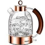 Wasserkocher Glas, ASCOT 2200 W, 1,6 liter, Elektrischer Wasserkessel, Edelstahl, Retro Design, kabelloser Teekocher, BPA frei, Trockengehschutz, Automatische Abschaltung-Roségold