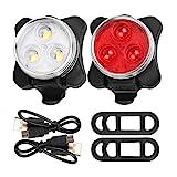 Iwinna Fahrradlichter-Set, USB Wiederaufladbare Wasserdichte Fahrradlichter mit 4 Lichtmodi Optionen und 2 USB-Kabel Ideal für Mountainbikes oder Rennräder