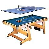 Riley FP-6TT - 2-in-1 Multifunktionsspieltisch, Pool-Billardtisch, Tischtennis, Klappsystem, Zubehör, Queues, Kugeln, Bälle, Schläger, buche
