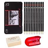 Johiux Professional Bleistift Set und Zeichnung Bleistifte, 12 Stück Sketching Pencils 8B -2H, Kunststift Perfekt für Anfänger, Kinder oder professionelle Künstler, Radiergummis und Anspitzer
