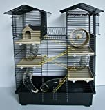 Interzoo Super Hamsterkäfig, Nagerkäfig, Käfig CH2 in schwarz/beige Gratis Futternapf