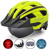 VICTGOAL Fahrradhelm MTB Mountainbike Helm mit abnehmbarem magnetischem Visier Abnehmbarer Sonnenschutzkappe und LED Rücklicht Radhelm Rennradhelm für Erwachsenen Herren Damen (Yellow)