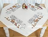 Kamaca Stickpackung Waldtiere Kreuzstich vorgezeichnet aus 100% Baumwolle zum Selbersticken (Tischdecke 80x80 cm)