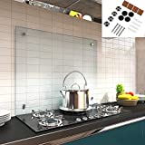 Melko Spritzschutz Herdblende aus Glas, für Küche, Herd, Fliesen, 6 mm ESG Sicherheitsglas, Küchenrückwand, inkl. Schrauben, 80 x 60 cm, Klarglas