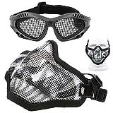 Softair Maske und Brille Set, Totenkopf-Netzmaske Halbgesichtsschutzmaske mit Airsoft-Brille, Augenschutz mit elastischem Band für Outdoor-CS Spiele (schwarz)