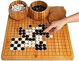 ADLOASHLOU Go Spiel, Go Brettspiel Holz-1.8 cm dick, 44cm x 47cm Gehen Schach-Brettspiel-Set, Go Game Set für Kinder Erwachsene,mit Schalen und Steine,19x19 Gitter (Enthält 40 Ersatzteile)