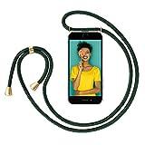 ZhinkArts Handykette kompatibel mit Apple iPhone 7/8 / iPhone SE (2020) - 4,7' Display - Smartphone Necklace Hülle mit Band - Handyhülle Case mit Kette zum umhängen in Grün