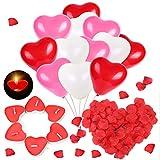 HOWAF Romantisch Deko Set, 50 rot herzförmige Kerzen Teelichter + 1000 Seide Rote Rosenblüten + 60 Herzluftballons Rot Weiß Rosa Latex Herz Ballon für Hochzeit heiratsantrag Valentinstag Deko