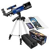EMARTH Teleskop für Kinder und Einsteiger für Beobachtung von Himmel und Landschaft- 70mm fernrohr Teleskop Astronomisches Mit verstellbarem Stativ & Rucksack