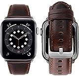 MroTech Lederarmband kompatibel mit Apple Watch Armband 42mm 44mm Band echt Leder Ersatzarmband für iWatch SE/Serie 6/Series 5/4/3/2/1 Uhrenarmband 42/44 mm Classic Kaffee mit Silber Schnalle