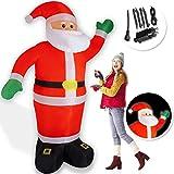 Kesser® Aufblasbarer Weihnachtsmann XXL 250cm LED beleuchtet inkl. Befestigungsmaterial Weihnachtsdekoration Weihnachtsdeko Figur, geräuscharmes Gebläse, Nikolaus Santa witterungsbeständig IP44