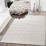 T&T Design Shaggy Teppich Hochflor Langflor Teppiche Wohnzimmer Preishammer versch. Farben, Größe:140x200 cm, Farbe:Creme