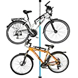 ALLEGRA Fahrradhalterung Wand Fahrradaufhängung Fahrradwandhalterung Fahrrad Halterung (Blau, 2 Halter + Stange 160cm - 290cm)