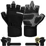 Cevapro Fitness Handschuhe Trainingshandschuhe mit Handgelenkstütze für Krafttraining Gewichtheben Crossfit Bodybuilding Radsport Gym Damen Herren (Schwarz, Large)