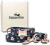 Freudentier® Hundehalsband & Hundeleine (2m) im Set - Wundervolles Design & Unempfindliches Nylon - 3 Fach Verstellbare Leine - Für kleine Hunde & große Hunde - Hundeleinen