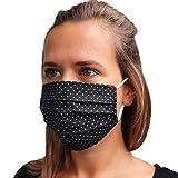LIEVD® Mundschutz Maske 100% Baumwolle Made in Germany | OEKO-TEX 100 | Gesichtsmaske waschbar | Mund und Nasenschutz wiederverwendbar | Behelfsmaske 2-lagig (Größe M - Schwarz)