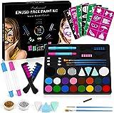 ENJSD Kinderschminke Set Gesichtsfarbe, 18-Farben Gesichtsfarbe Schminkset für Kinder, Body Painting, Ideal für Kinder Partys & Fasching, Auswahl an Schminkfarben Schablonen(18 Colours)