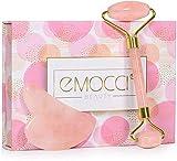 EMOCCI Jade Roller Gesicht Rosenquarz Gua Sha Gesichtsroller Massageger Face Massagegerät Echt Stein für Augen Anti-Aging Nacken Verjüngung Schönheit Hautpflege Gerät mit Geschenkbox Set(Rosa)