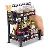 Spice Rack Organizer, Aufbewahrungsregal für Küchenarbeitsplatten mit Besteckstäbchen und Schneidebrett-Aufbewahrungsregal, Aufbewahrungsregal für Küchenbadezimmer-Stehgestell (2 Ebenen)