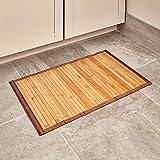 iDesign rutschfeste Fußmatte, kleiner Duschvorleger aus Bambus, wasserabweisender Läufer für Badezimmer, Küche und Flur, hellbraun