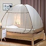 Digead Moskitonetz Bett , Faltbares Bett-Moskitonetz , Tragbares Reise-moskitonetz , Einzeltür-Moskito-Campingvorhang ,100 * 200 cm - Brauner Rand