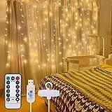 Lichtervorhang 3x3M, Infankey 300LED USB Lichterketten Vorhang mit Fernbedienung, 8 Modi & Timer, IP44 Wasserdicht für Innen und Außen Deko, Schlafzimmer, Garten, Party
