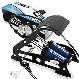 Shibox Fahrradpumpe alle Ventile I extra Langer Schlauch (100 cm) mit genauer Druckluftanzeige I Fußpumpe auch für Autoventil - Ball - Motorrad geeignet