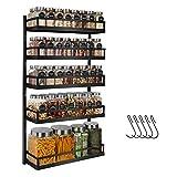 X-cosrack Gewürzregal Wand montieren - 5 Etagen Höhenverstellbares Hängendes Gewürzhalter-Organizer für Küchenschrank, Schranktür, Speisekammer- Dual-Use-Gewürzhalter mit Haken, Schwarz