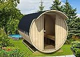 FinnTherm Fass-Sauna Finn inkl. Holz-Ofen (18 kW) | unbehandelt - Gartensauna Außensauna