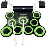 Elektronisches Schlagzeug, Drum Set, BONROB Roll Up Schlagzeug Midi Drum Kit mit Kopfhörer und eingebaute Lautsprecher Drum Pedals und Sticks, bis zu 10St. Weihnachtsgeschenk für Kinder (9 Pads)